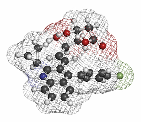 nitrogen: Pitavastatin hypercholesterolemia drug molecule. Atoms are represented as spheres with conventional color coding: hydrogen (white), carbon (grey), oxygen (red), nitrogen (blue), fluorine (light green).