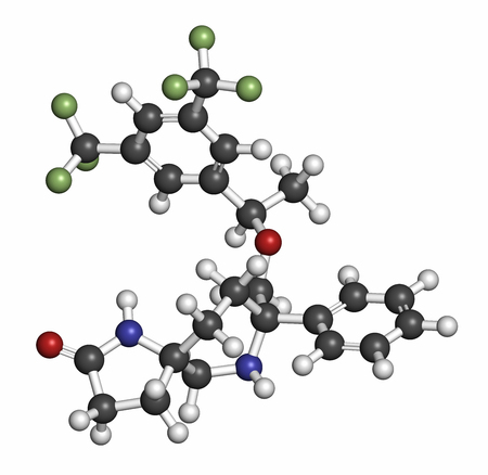 induced: Rolapitant antiemetic drug molecule. Atoms are represented as spheres with conventional color coding: hydrogen (white), carbon (grey), oxygen (red), nitrogen (blue), fluorine (light green).
