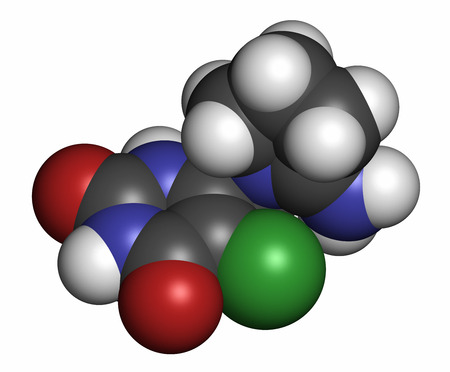 colorectal: Tipiracil cancer drug molecule (thymidine phosphorylase inhibitor). Atoms are represented as spheres with conventional color coding: hydrogen (white), carbon (grey), oxygen (red), nitrogen (blue), chlorine (green).
