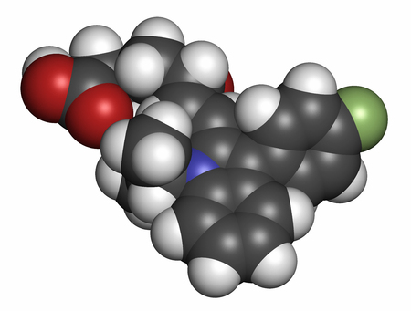 generic drugs: Fluvastatin hypercholesterolemia drug molecule. Atoms are represented as spheres with conventional color coding: hydrogen (white), carbon (grey), oxygen (red), nitrogen (blue), fluorine (light green).