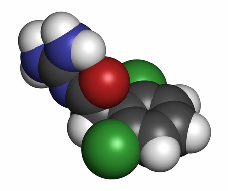 Guanfacine ADHD drug molecule. Atoms are represented as spheres with conventional color coding: hydrogen (white), carbon (grey), oxygen (red), nitrogen (blue), chlorine (green).