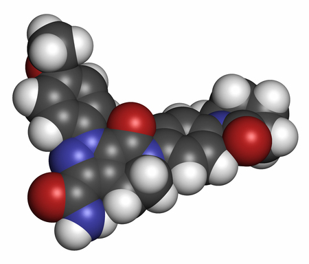 anticoagulant: Apixaban anticoagulant drug molecule (direct FXa inhibitor). Atoms are represented as spheres with conventional color coding: hydrogen (white), carbon (grey), oxygen (red), nitrogen (blue). Stock Photo