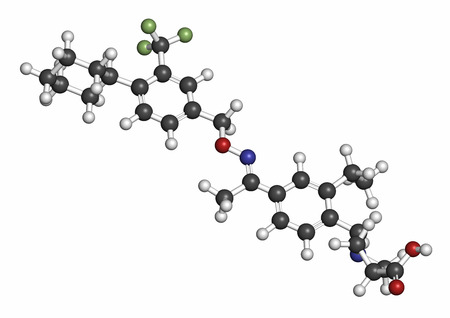 Siponimod anti-inflammatory drug molecule (S1PR1 modulator). Atoms are represented as spheres with conventional color coding: hydrogen (white), carbon (grey), oxygen (red), nitrogen (blue), fluorine (light green). Stock Photo