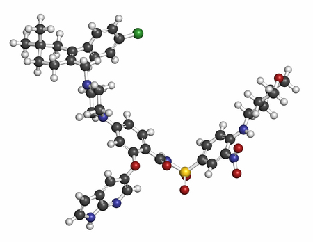 apoptosis: Venetoclax cancer drug molecule (BCL-2 inhibitor). Atoms are represented as spheres with conventional color coding: hydrogen (white), carbon (grey), oxygen (red), nitrogen (blue), chlorine (green), sulfur (yellow). Stock Photo