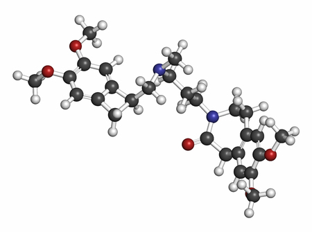 angina: Ivabradine angina pectoris drug molecule. Atoms are represented as spheres with conventional color coding: hydrogen (white), carbon (grey), oxygen (red), nitrogen (blue).