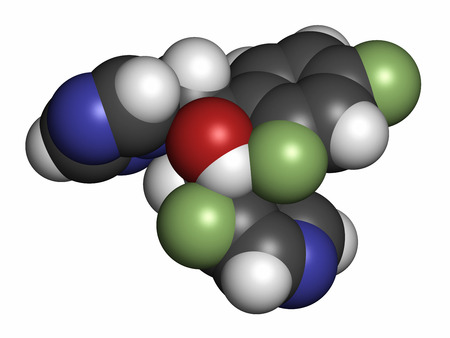 fluorine: Voriconazole antifungal drug molecule (triazole class). Atoms are represented as spheres with conventional color coding: hydrogen (white), carbon (grey), oxygen (red), nitrogen (blue), fluorine (light green).