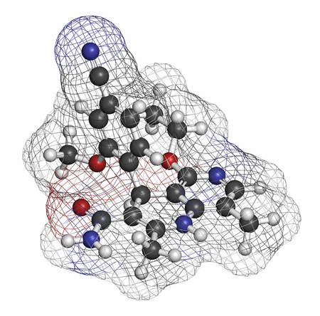 nephropathy: Finerenone heart failure drug molecule (mineralocorticoid receptor antagonist). Atoms are represented as spheres with conventional color coding: hydrogen (white), carbon (grey), oxygen (red), nitrogen (blue). Stock Photo