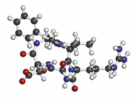 peptide: Cilengitide cancer drug molecule. Atoms are represented as spheres with conventional color coding: hydrogen (white), carbon (grey), oxygen (red), nitrogen (blue).