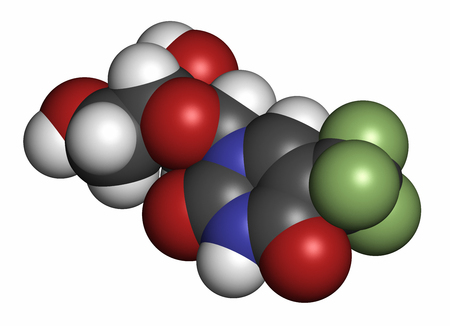 fluorine: Trifluridine (trifluorothymidine, TFT) antiviral drug molecule. Atoms are represented as spheres with conventional color coding: hydrogen (white), carbon (grey), oxygen (red), nitrogen (blue), fluorine (light green).