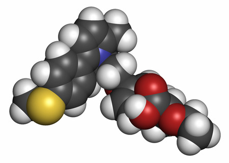 Saroglitazar diabetes drug molecule (dual PPAR agonist). Atoms are represented as spheres with conventional color coding: hydrogen (white), carbon (grey), oxygen (red), nitrogen (blue), sulfur (yellow).