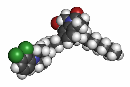 injectable: Aripiprazole lauroxil antipsychotic drug molecule (injectable extended release form).. Atoms are represented as spheres with conventional color coding: hydrogen (white), carbon (grey), nitrogen (blue), oxygen (red), chlorine (green).
