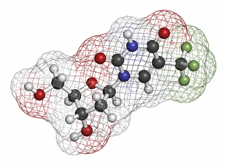 tft: Trifluridine (trifluorothymidine, TFT) antiviral drug molecule. Atoms are represented as spheres with conventional color coding: hydrogen (white), carbon (grey), oxygen (red), nitrogen (blue), fluorine (light green).