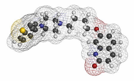 Brexpiprazole antipsychotic drug molecule. Atoms are represented as spheres with conventional color coding: hydrogen (white), carbon (grey), oxygen (red), nitrogen (blue), sulfur (yellow).
