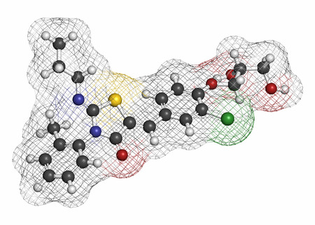 modulator: Ponesimod anti-inflammatory drug molecule (S1PR1 modulator). Atoms are represented as spheres with conventional color coding: hydrogen (white), carbon (grey), oxygen (red), nitrogen (blue), chlorine (green), sulfur (yellow). Stock Photo
