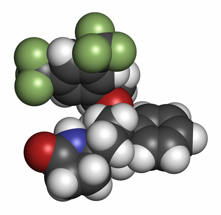 fluorine: Rolapitant antiemetic drug molecule. Atoms are represented as spheres with conventional color coding: hydrogen (white), carbon (grey), oxygen (red), nitrogen (blue), fluorine (light green).