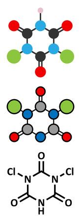 desinfectante: Trocloseno (ácido dicloroisocianúrico) molécula. Se utiliza como desinfectante, desodorante, biocida, detergente y en la purificación de agua. representaciones 2D y estilizadas fórmula esquelética convencional.