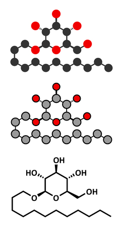 glucose: Lauryl glucoside (dodecyl glucoside) non-ionic surfactant molecule. Mild detergent, often used in cosmetics, shampoos, etc. Glycoside produced from lauryl alcohol and glucose. Stylized 2D renderings and conventional skeletal formula. Illustration