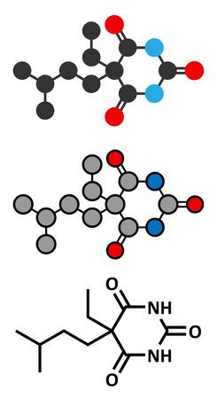 sleeping pills: Amobarbital (amylobarbitone) barbiturate sedative molecule. Stylized 2D renderings and conventional skeletal formula.