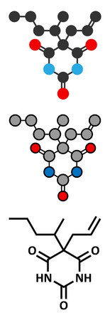 capital punishment: Secobarbital barbiturate sedative molecule. Stylized 2D renderings and conventional skeletal formula.