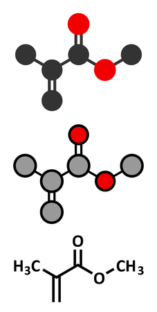 synthetic: Methyl methacrylate molecule, poly(methyl methacrylate) or acrylic glass building block. Stylized 2D renderings and conventional skeletal formula. Illustration