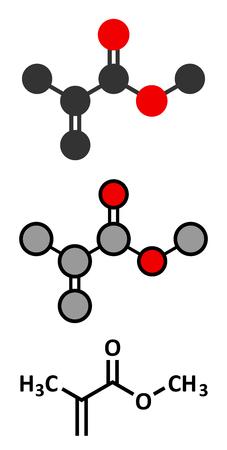 polymerization: Methyl methacrylate molecule, poly(methyl methacrylate) or acrylic glass building block. Stylized 2D renderings and conventional skeletal formula. Illustration
