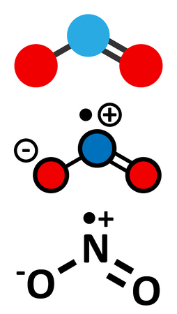 pollution free: Nitrogen dioxide (NO2) air pollution molecule. Free radical compound, also known as NOx. Stylized 2D renderings and conventional skeletal formula. Illustration