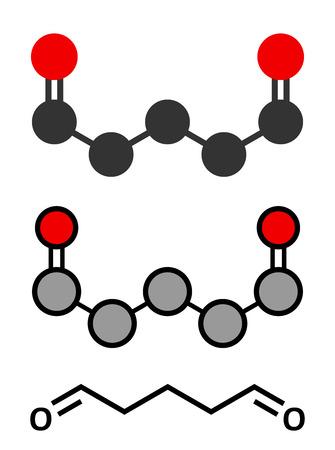 desinfectante: Glutaraldehído (glutaral) molécula desinfectante. Utilizado en la desinfección de dispositivos médicos e instrumentos quirúrgicos. representaciones 2D y estilizadas fórmula esquelética convencional.