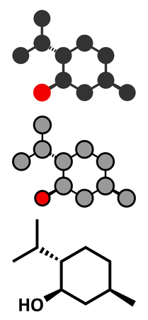 itching: Menthol molecule. Present in peppermint, corn mints, etc. Stylized 2D renderings and conventional skeletal formula.