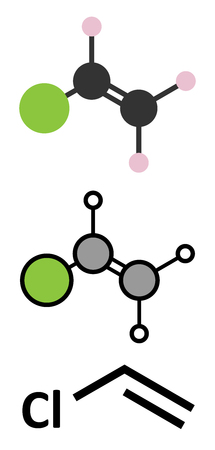 Vinyl chloride (chloroethene) PVC building block molecule. Stylized 2D renderings and conventional skeletal formula.