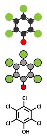 desinfectante: El pentaclorofenol (PCP) de plaguicidas y la molécula desinfectante. A menudo se utiliza para la conservación de la madera. representaciones 2D y estilizadas fórmula esquelética convencional.
