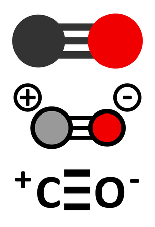 poisoning: Carbon monoxide (CO) toxic gas molecule. Carbon monoxide poisoning frequently occurs due to malfunctioning fuel-burning home appliances. Stylized 2D renderings and conventional skeletal formula.