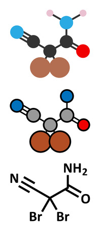 breaks: DBNPA (2,2-dibromo-3-nitrilopropionamide) biocide, chemical structure. Quick-kill biocide that rapidly breaks down in water. Stylized 2D renderings and conventional skeletal formula. Illustration