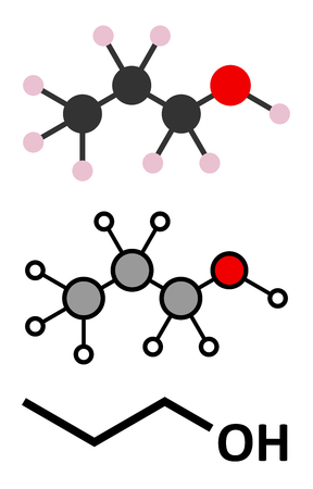 solvent: Propanol (n-propanol) solvent molecule. Stylized 2D renderings and conventional skeletal formula. Illustration