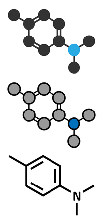 loosening: N,N-dimethyl-p-toluidine (DMPT) molecule. Commonly used as catalyst in the production of polymers and in dental materials and bone cements. Stylized 2D renderings and conventional skeletal formula.