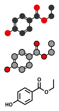 preservative: Ethyl paraben (ethyl para-hydroxybenzoate) preservative molecule. Stylized 2D renderings and conventional skeletal formula.