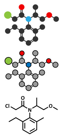 Metolachlor herbicide (weed killer) molecule. Stylized 2D renderings and conventional skeletal formula.