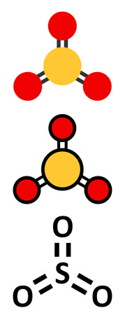 Sulfur trioxide pollutant molecule. Principal agent in acid rain. Stylized 2D renderings and conventional skeletal formula.
