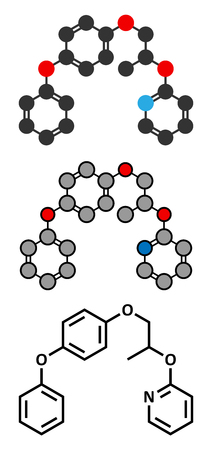 larvae: Pyriproxyfen pesticide molecule. Juvenile hormone analogue that prevents larvae from developing. Stylized 2D renderings and conventional skeletal formula.