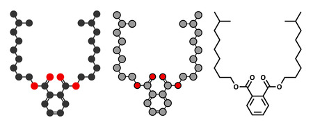 toxicant: Diisononyl phthalate (DINP) plasticizer molecule. Stylized 2D renderings and conventional skeletal formula. Illustration