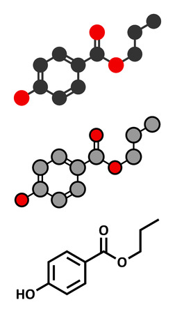 preservative: Propyl paraben preservative molecule. Used in food and cosmetics. Stylized 2D renderings and conventional skeletal formula.