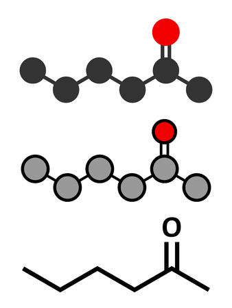 methyl: Methyl butyl ketone (MBK, 2-hexanone) solvent molecule. Stylized 2D renderings and conventional skeletal formula. Illustration