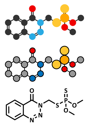 inhibition: Azinphos-methyl organophosphate insecticide. Acts as neurotoxin through the inhibition of acetylcholinesterase. Stylized 2D renderings and conventional skeletal formula. Illustration