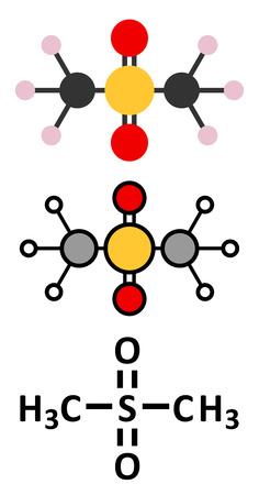 dietary: Methylsulfonylmethane (MSM) dietary supplement molecule. Stylized 2D renderings and conventional skeletal formula. Illustration