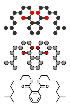 phthalates: Diisononyl phthalate (DINP) plasticizer molecule. Stylized 2D renderings and conventional skeletal formula. Illustration