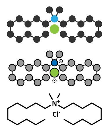 desinfectante: cloruro de didecildimetilamonio molécula antiséptico. desinfectante biocida, activo contra bacterias y hongos. representaciones 2D y estilizadas fórmula esquelética convencional. Vectores