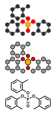 solvent: Tricresyl phosphate (TCP) molecule. Used as plasticizer, for waterproofing, as flame retardant, etc. Known to be neurotoxin. Stylized 2D renderings and conventional skeletal formula.