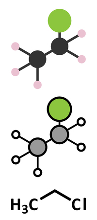 recreational drug: Chloroethane (ethyl chloride) local anesthetic molecule. Stylized 2D renderings and conventional skeletal formula. Illustration