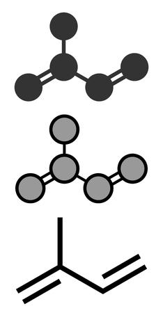 monomer: Isoprene, rubber (polyisoprene) building block (monomer). Stylized 2D renderings and conventional skeletal formula. Illustration