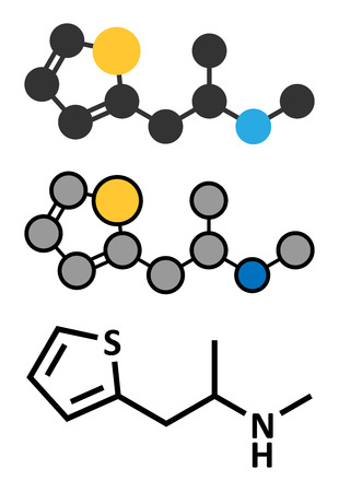 recreational drug: Methiopropamine (MPA) recreational drug molecule. Stylized 2D renderings and conventional skeletal formula.