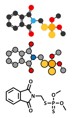 toxicity: Phosmet organophosphate insecticide molecule. Stylized 2D renderings and conventional skeletal formula.